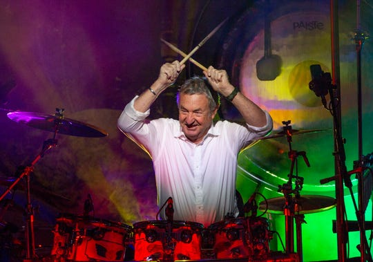 This Sept. 23, 2018 photo released by Jill Furmanovsky shows Pink Floyd drummer Nick Mason performing with Nick Mason's Saucerful of Secrets band in Portsmouth, England.
