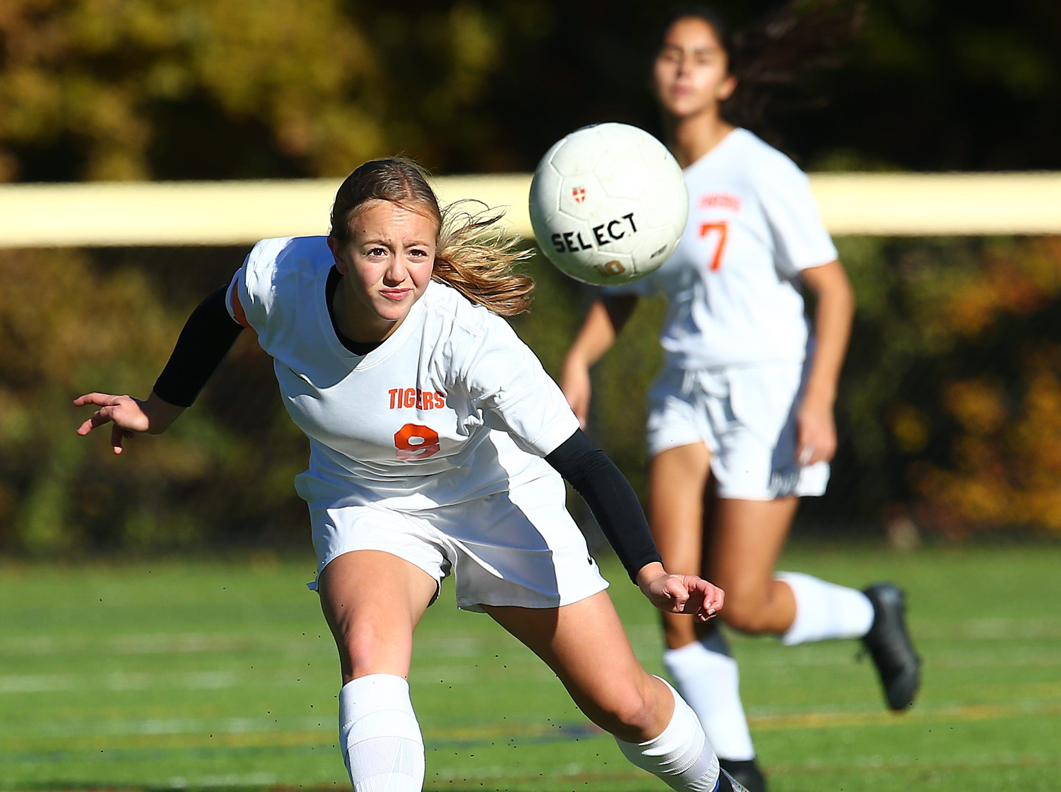 Dover's Kassandra Mendoza heads the ball vs. Morris Tech during their NJSIAA North 2 Group II opening round girls soccer match at Veterans Memorial Park. October 30, 2018, Denville, NJ