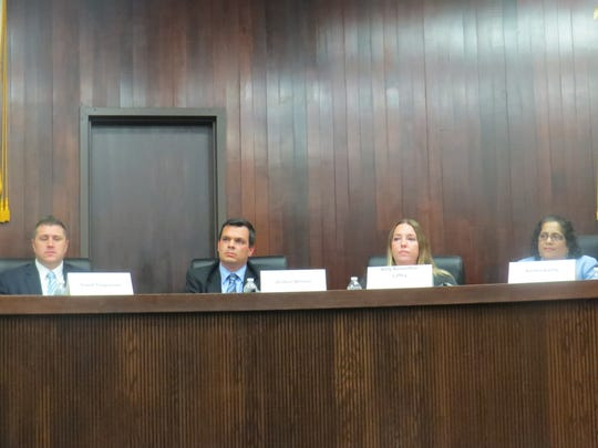 From left, Democrats David Timpanaro, Joshua Weiner, Amy Rosenthal-Laffey  and Rachel Koshy, appearing at the Randolph Township Council candidates forum at town hall. Oct. 29, 2018.
