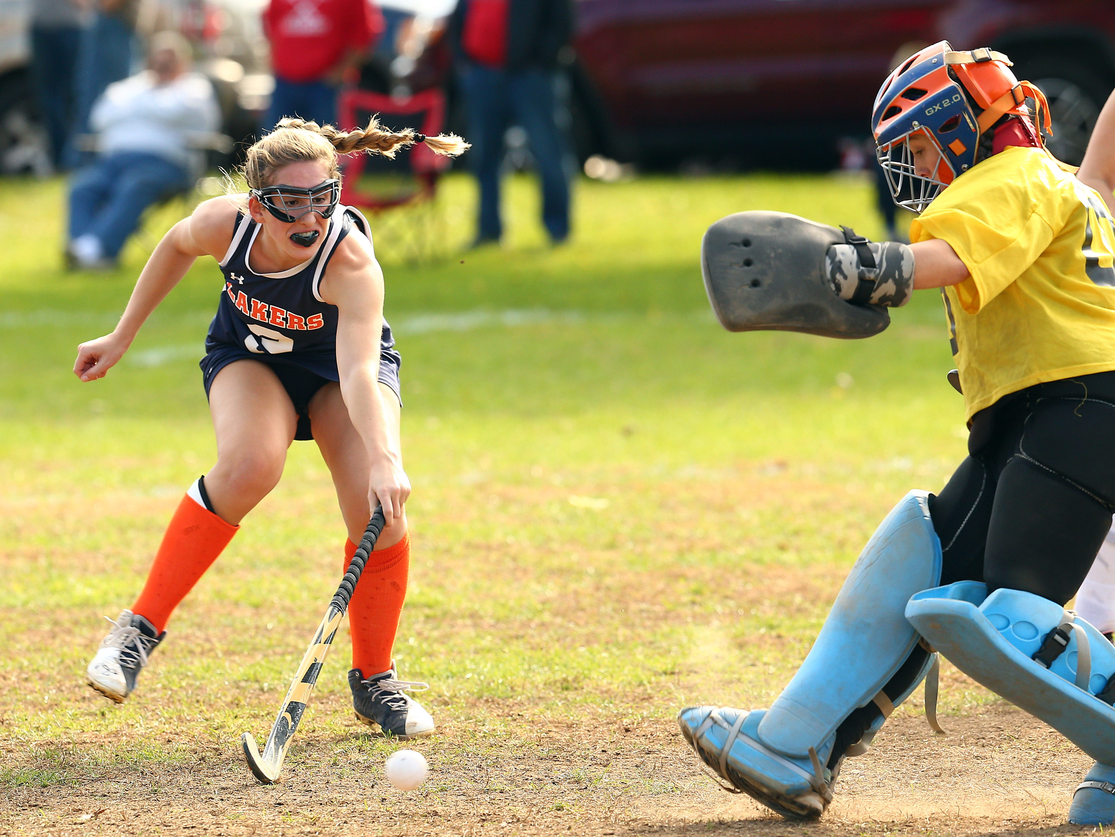 Mountain Lakes Jillian McDonald stretches for the ball vs. Belvidere during their NJSIAA North 1 Group I field hockey semifinal. October 31, 2018, Belvidere, NJ