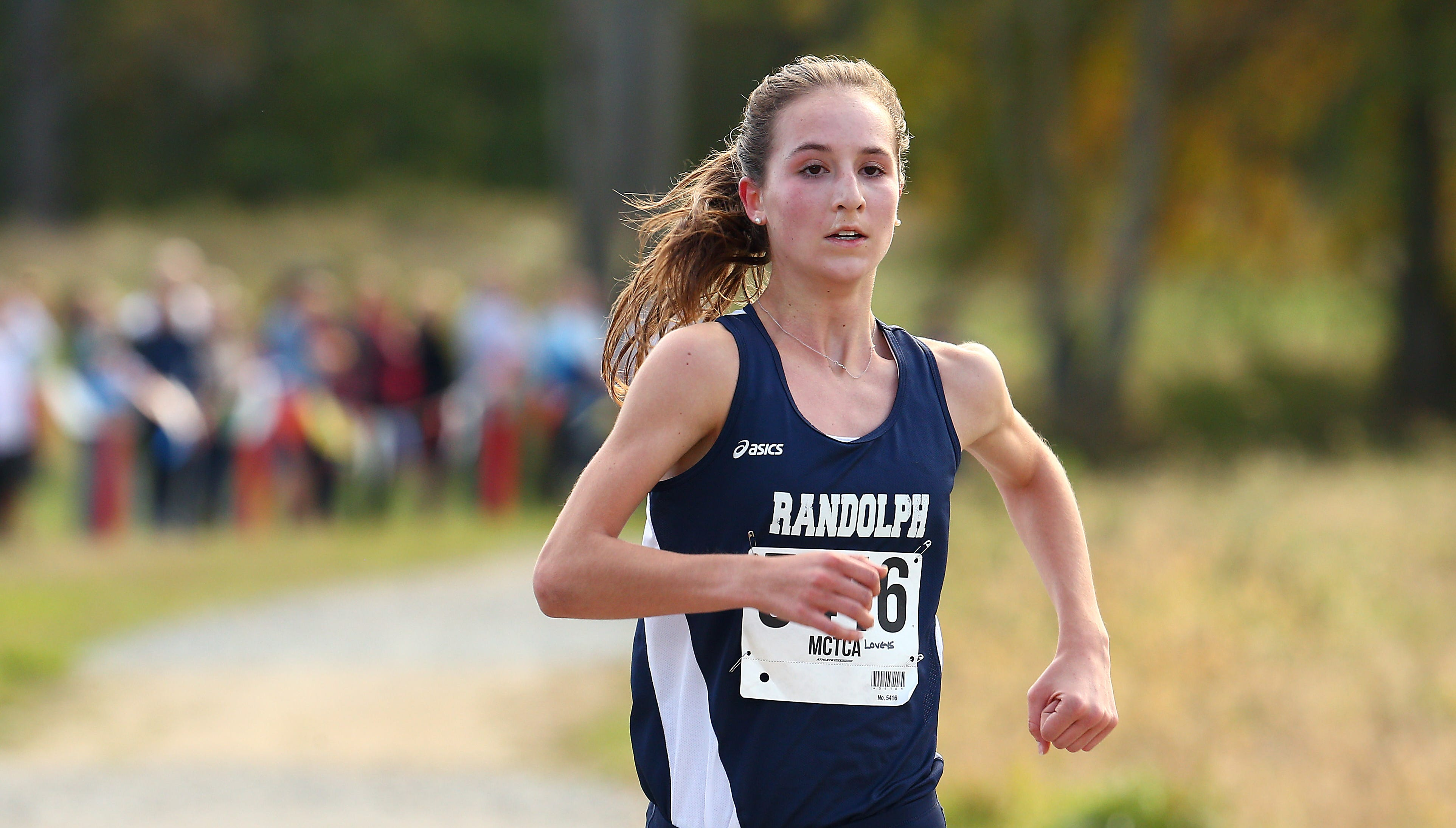 Randolph's Abby Loveys comes in for a course record win during the Morris County girls cross country championships at Central Park of Morris County. October 23, 2018, Morris Plains, NJ