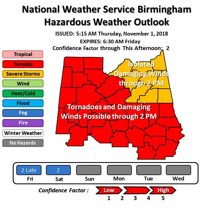 Tornado watch for Montgomery, Autauga Elmore through 1 p.m.