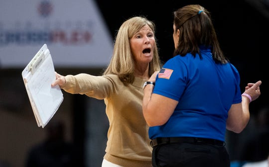 Montgomery Academy coach Julie Gordon in the AHSAA State Volleyball Finals in Birmingham, Ala., on Thursday November 1, 2018.