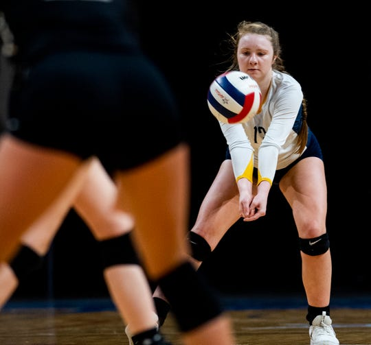 St. James' Carson Ann Crow against Jasper in the AHSAA State Volleyball Finals in Birmingham, Ala., on Thursday November 1, 2018.