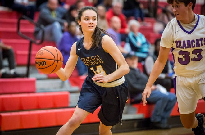 Delta's Gracie Gilland, shown here in a game earlier this season against Central, scored 21 points to lead the Eagles to a win over Pendleton Heights.