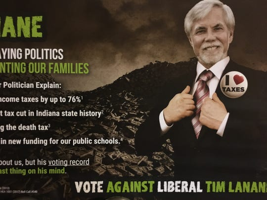This direct mailer is an example cited by Sen. Tim Lanane of negative, personal campaigning by his opponent Zaki Ali.