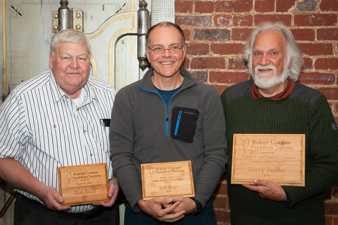 Recent Robert Cooper Audubon Society award recipients include (from left) Donald Ruch, Jeff Ray and Barry Banks.