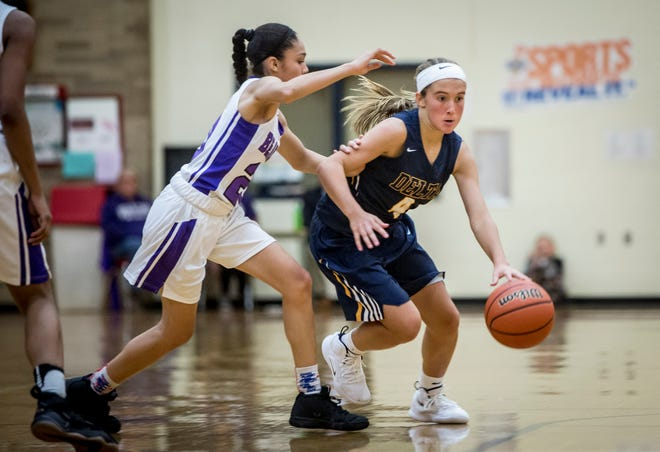 Delta's Addie Chester dribbles past the Central defense in the Eagles' season-opening win.