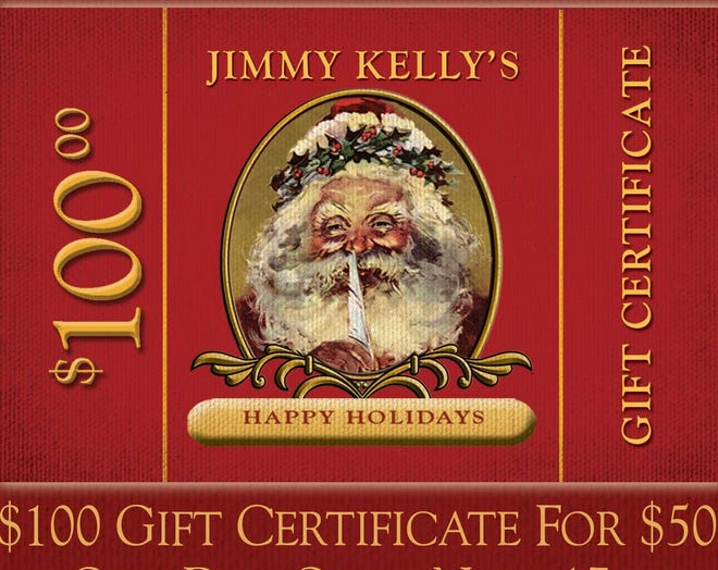 We have missed the one day half off gift card sale at Jimmy Kelly's Steakhouse but you can buy the cards for 25 percent off Dec. 2 -24.