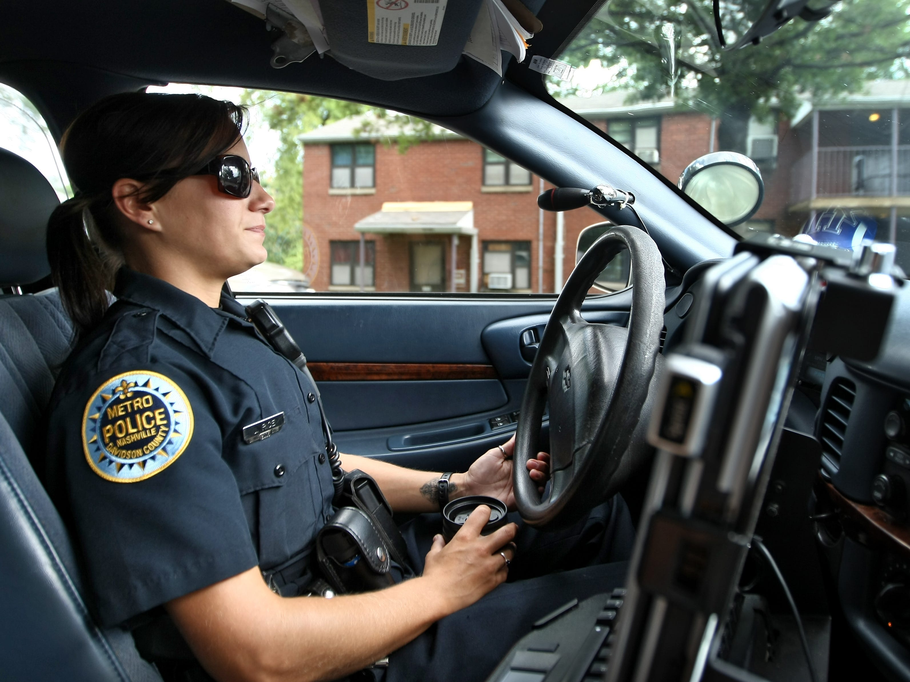 Jaime Rice of Metro police patrols the James A. Cayce Homes on July 29, 2009.