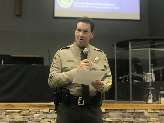 Cheatham County Sheriff Mike Breedlove speaks at a Tennessee Opioid Epidemic Town Hall meeting, sponsored by the Cheatham County Community Enhancement Coalition, on Tuesday, Oct. 30 at Gateway Church Assembly of God in Ashland City.