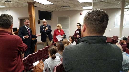 At an October meeting, Sumner County Director of Schools Del Phillips and school board members Jim Hawkins and Patricia Brown spoke with concerned parents from Gallatin's Carellton neighborhood about his proposed Stage 1 rezoning.