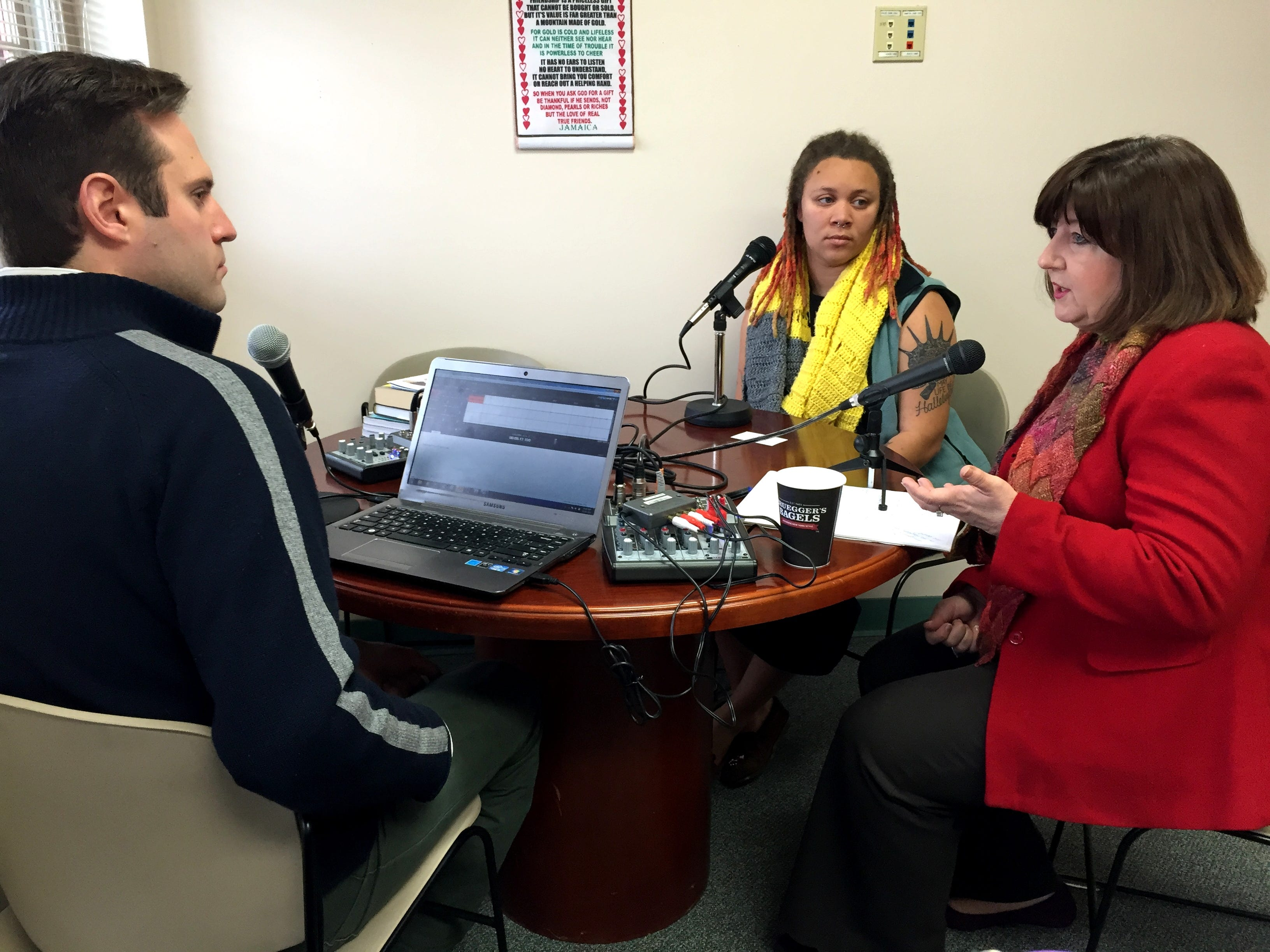 """The """"Break the Line"""" podcast, hosted by Peter Martino of the Martha O'Bryan Center, features stories of people overcoming poverty. In an episode Dec. 18, 2014, the center's CEO, Marsha Edwards, right, and James A. Cayce Homes organizer Sara Green, center, discussed poverty."""