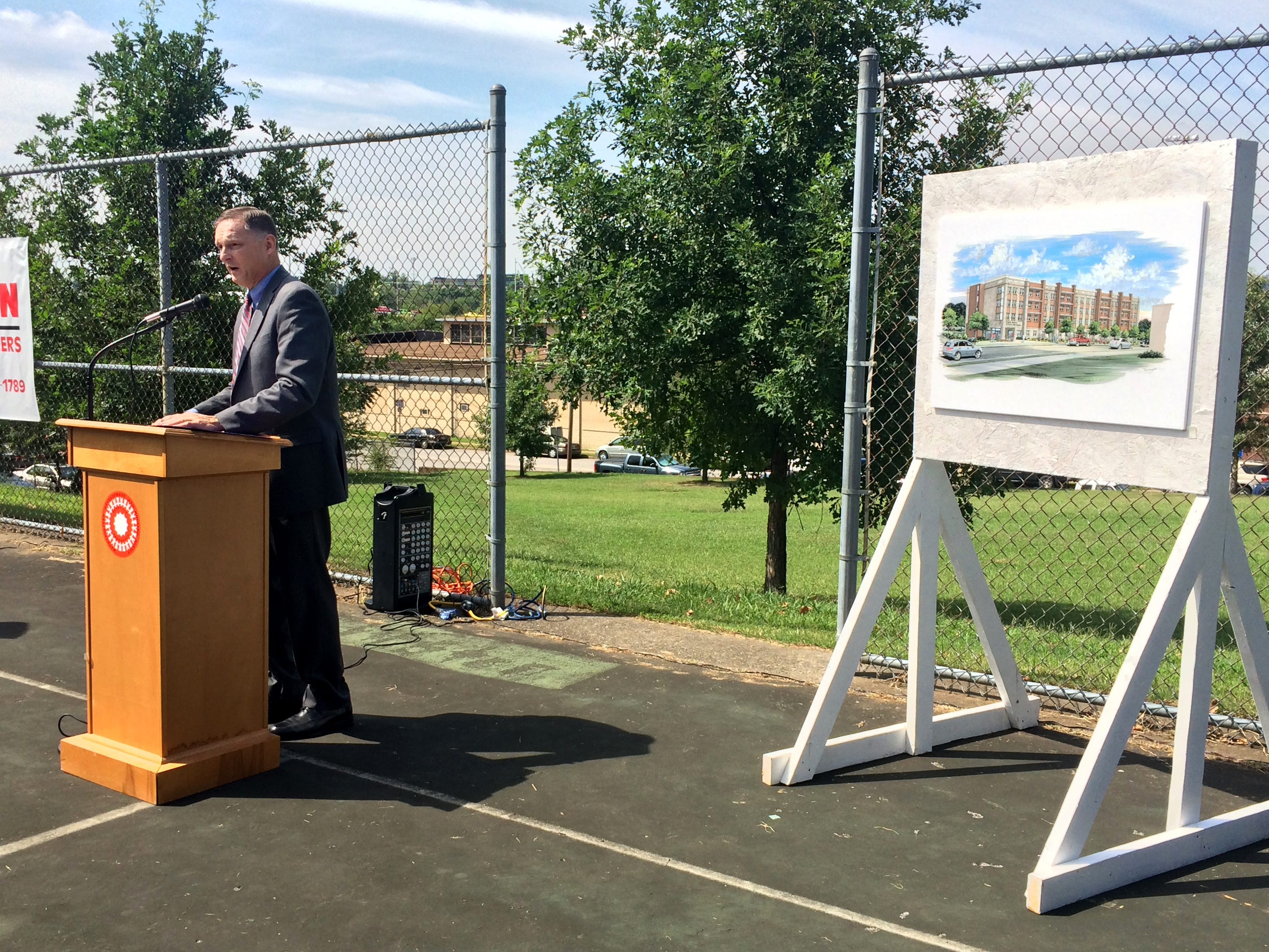 Jim Harbison, the executive director of the Metro Development and Housing Agency, speaks during the groundbreaking ceremony for Cayce Place Apartments on Aug. 22, 2015. The 68-unit building will be Davidson County's first new public housing in 18 years.