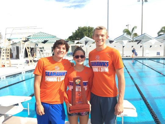 Cape Coral's Steven Rua, Nicole Rodriguez and John Pellegrino won each event they swam in at the Class 2A-District 10 on Thursday at Eagle Lakes Community Park.