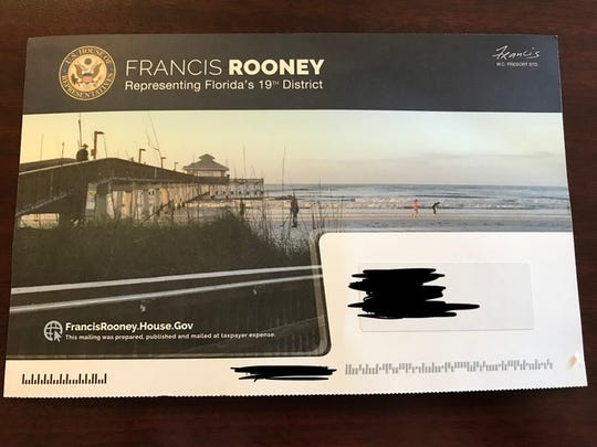 A constituent received this mailer from Rep. Francis Rooney on Saturday, Oct. 27, 2018. The last day for incumbents to send mass mailings before the Nov. 6 general election was Aug. 8, according to the House Administration Franking Commission. Rooney, who's running for re-election in Florida's congressional District 19, is now facing accusations of violating campaign rules.