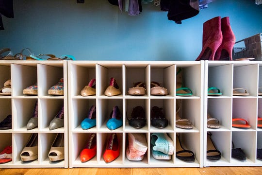Professional organizer Marla Ottenstein's master bedroom closet at her home in North Naples.