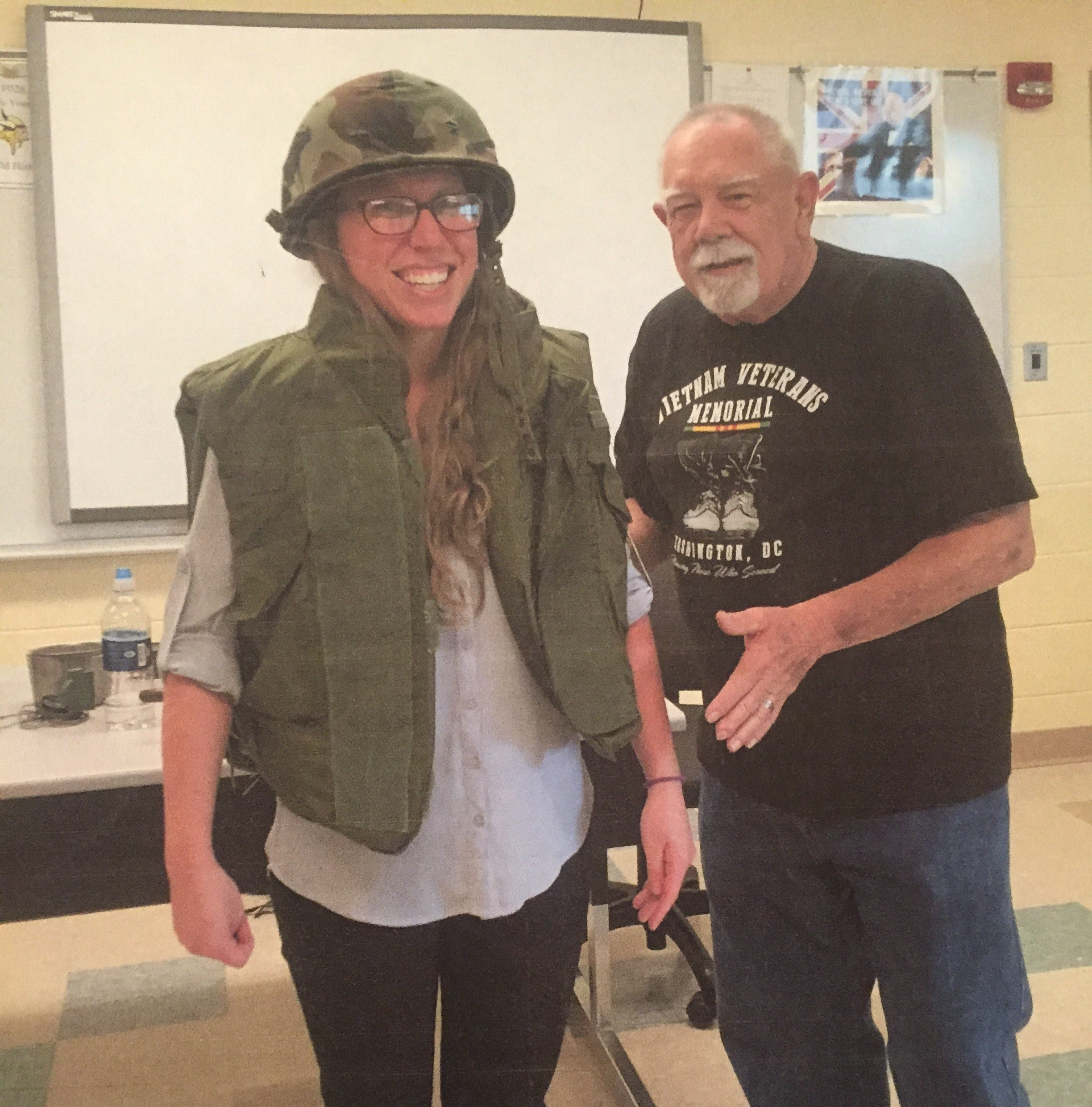 LeRoy Clendenen (right) appeared in Teays Valley educator Abby Young's classroom in May of this year for a special program. Clendenen was scheduled to be inducted into the Ohio Veterans Hall of Fame on Nov. 8.