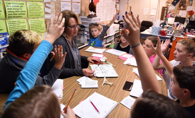 Fifth grade students at Etna Elementary School eagerly raise their hand to name an animal that's a carnivore during a food chain life science lesson with teacher Beth Holmes on Wednesday, Oct. 31, 2018. Holmes earned the 2018 STEM Educator of the Year Award.