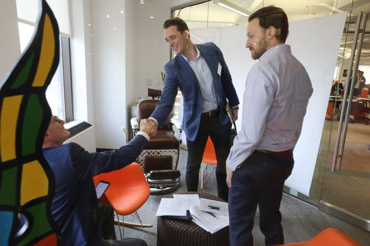 Mike Glaicar of Howell, founder and CEO of Trueconnect, a company that offers sales assistance, leaves after talking for 10 minutes with potential investors as he moves onto the next potential investor.