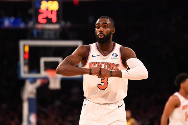 Oct 31, 2018; New York, NY, USA; New York Knicks guard Tim Hardaway Jr. (3) reacts during the first quarter against the Indiana Pacers at Madison Square Garden.