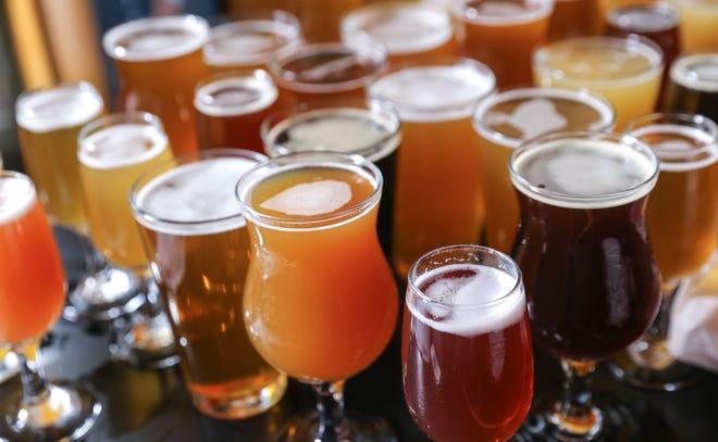 A tasting flight of craft beer.