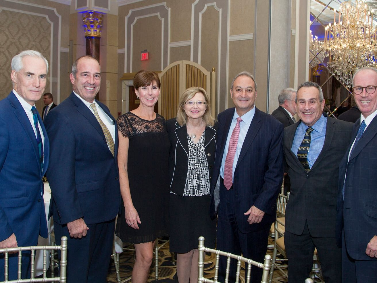Sean O'Rourke, Steve Mosser, Kristen Silberstein, Maryann Kicenuik, Fernando Garip, Dr. Randy Tartacoff, Joe Parisi. Holy Name Medical Center held its 2018 MS Center Awards Reception at the Venetian in Garfield. 10/23/2018