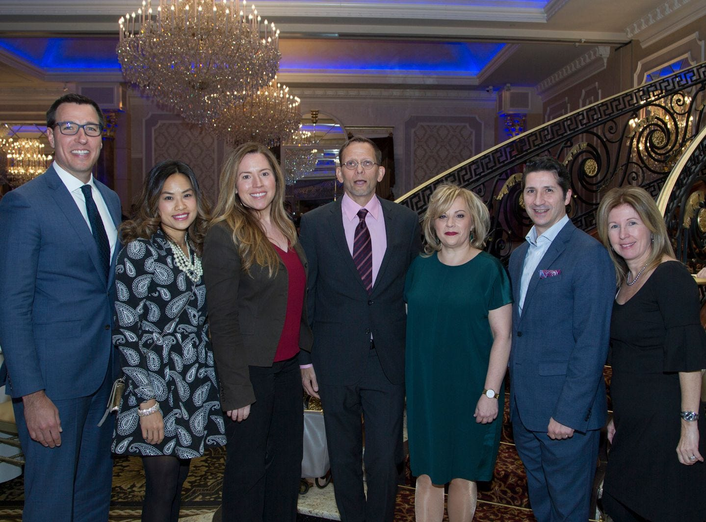 Jason Tardio, Tia Ly, Elizabeth Bellostas, Dr. David Duncan, Dr. Mary Ann Picone, Paul Sabatino, Mary Rowan. Holy Name Medical Center held its 2018 MS Center Awards Reception at the Venetian in Garfield. 10/23/2018