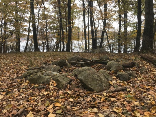 A campfire circle sits on Lake Hopatcong's Liffy Island in Jefferson Township on Nov. 1, 2018.