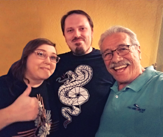 From left, local artist Keena Wolff, her husband Tom Wolff and actor Edward James Olmos.