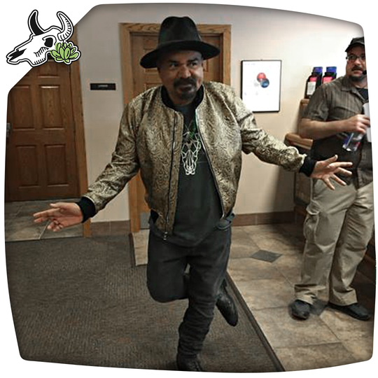 "Actor George Lopez, on the set of his new movie ""Walking with Herb,"" sports the Poly Skull t-shirt designed by local artist Keena Wolff, owner of the online apparel business Skulls and Succulents."