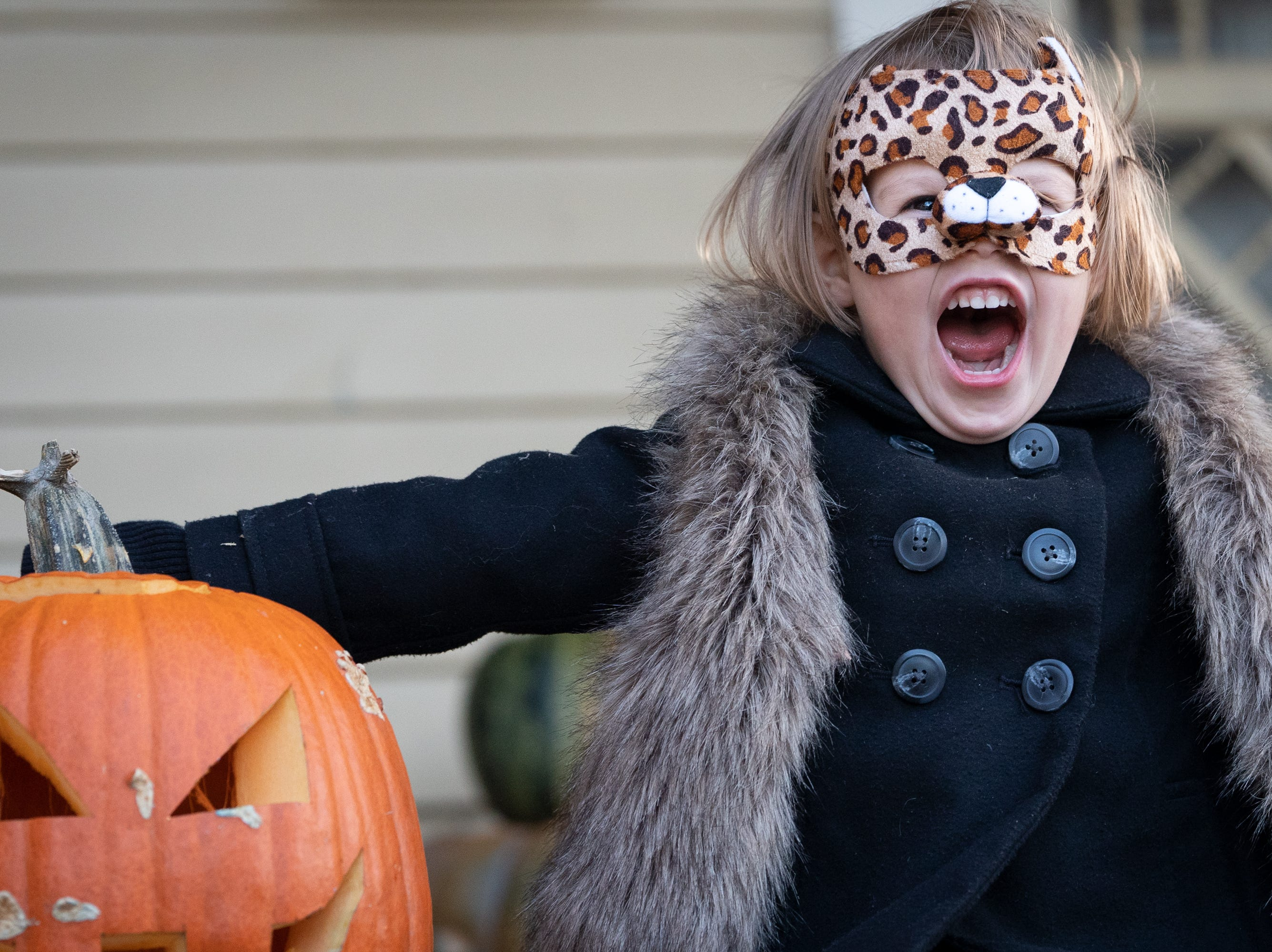 Meredith Chybowskimills shows off her cheetah look as she waits for trick or treaters on Merritt Avenue. Children, along with their parents, made the most of the beautiful autumn weather to trick or treat in Oshkosh Wednesday evening.