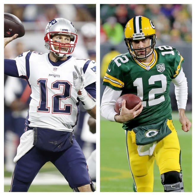 New England Patriots quarterback Tom Brady, left, and Green Bay Packers quarterback Aaron Rodgers.
