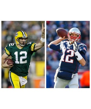 Green Bay Packers quarterback Aaron Rodgers, left, and his counterpart Tom Brady of the New England Patriots.