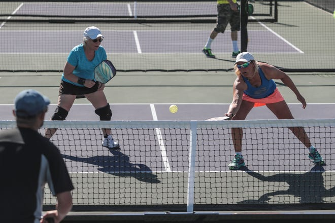 Kim Bessling, left, and Pam Stevenson, both of Bend Oregon play doubles pickleball at the Indian Wells Tennis Garden on Thursday, November 1, 2018 in Indian Wells. The Margaritaville USA Pickleball National Championships will be played at the Tennis Garden from November 3rd to the 11th.