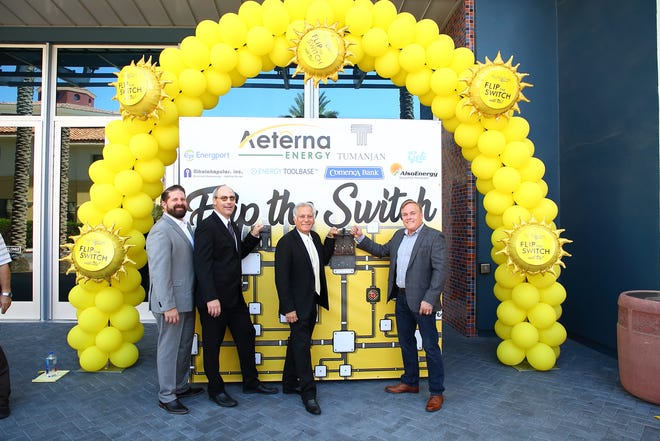 Ted Hahn/GM for the theater; Damon Rubio/Founder of D'Place Entertainment; Mike Tumanjin/Owner of the Mary Pickford Theater; Ron Harris/CEO of Aeterna Energy