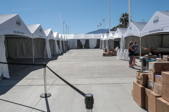 The sponsors village for the Margaritaville USA Pickleball National Championships is setup at the Indian Wells Tennis Garden on Thursday, November 1, 2018 in Indian Wells. The tournament will be held at the Tennis Garden from November 3rd to the 11th.