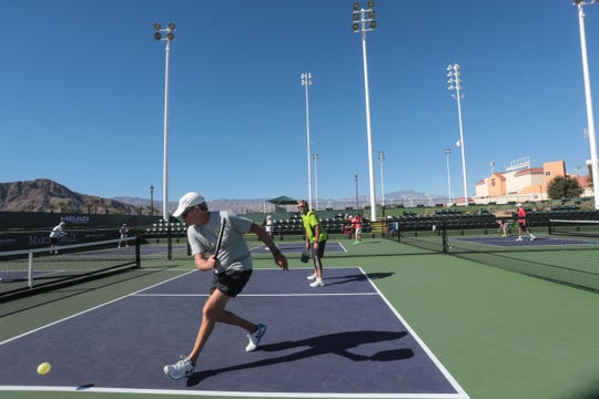 Ray Boyajian, of Centralia, Washington, plays doubles pickleball at the Indian Wells Tennis Garden on Thursday, November 1, 2018 in Indian Wells. The Margaritaville USA Pickleball National Championships will be played at the Tennis Garden from November 3rd to the 11th.
