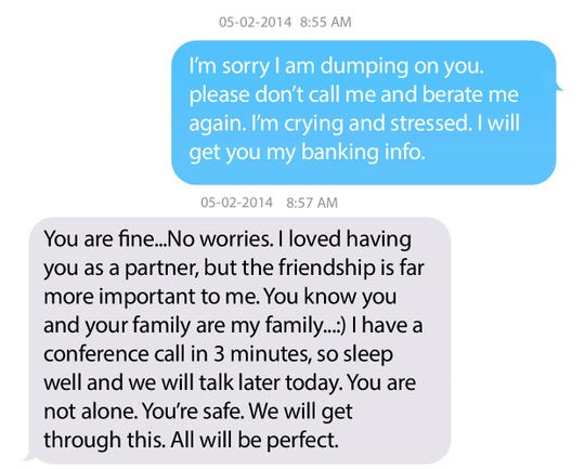 A photo illustration shows an excerpt from a text message exchange between Michael Booth and Laura Kontomitras, which were an exhibit to a lawsuit by Kontomitras. Kontomitras texts first.