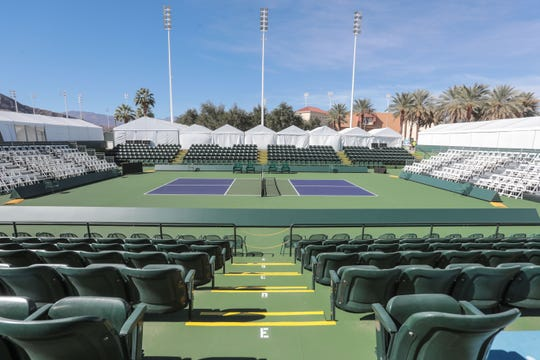 The center court for the Margaritaville USA Pickleball National Championships is setup at the Indian Wells Tennis Garden on Thursday, November 1, 2018 in Indian Wells. The tournament will be held at the Tennis Garden from November 3rd to the 11th.