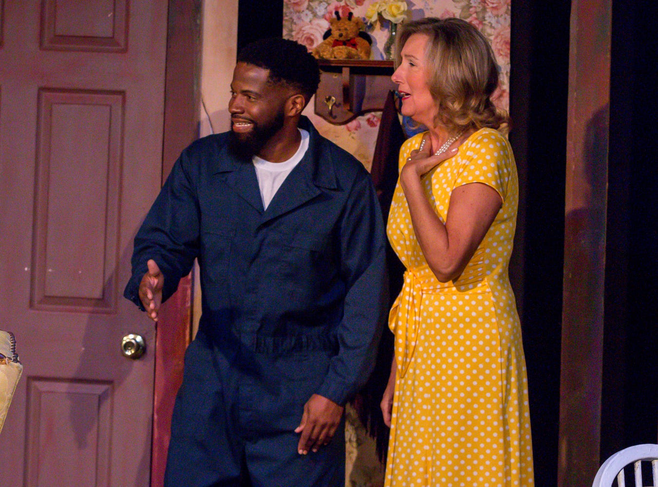 "Gene Alexander, playing Tom, and Connie Cali, playing Amanda Wingvalley, rehearse their scenes at Pensacola Little Theatre on Monday, October 29, 2018. They are part of ""Desire Desire Desire/For Whom The Southern Belle Tolls,"" two one-act plays written by Christopher Durang."