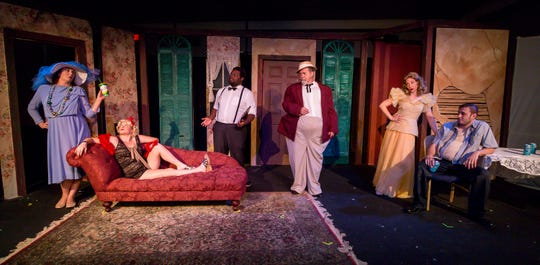 "From left to right, cast members Renee Luke Jordan, playing Stella, Gracie Miller, playing Cora and Maggie, Leon R. Jackson, playing a young man and census taker, David William Matthews, playing Big Daddy, Jessica Wade, playing Blanche Dubois, and Brandon Mayo, playing Stanley, pose for a photo before rehearsing their scenes at Pensacola Little Theatre on Monday, October 29, 2018. They are part of ""Desire Desire Desire/For Whom The Southern Belle Tolls,"" two one-act plays written by Christopher Durang."