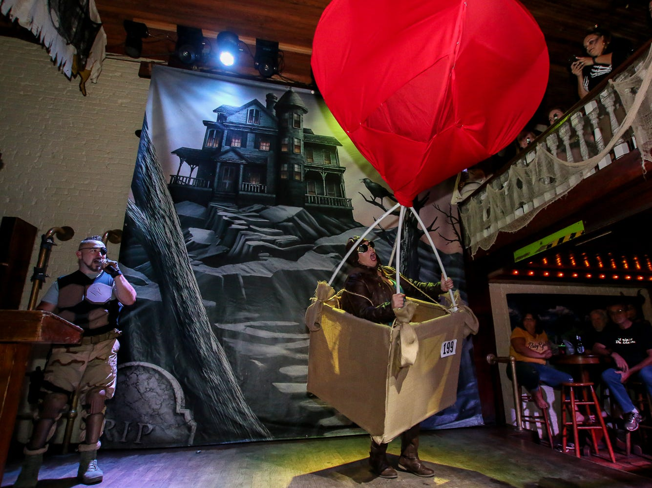 """Hot air balloon"" won 4th place in the $1,000 grand prize Halloween costume contest, which featured over 100 entrants, at Seville Quarter on Wednesday, October 31, 2018."
