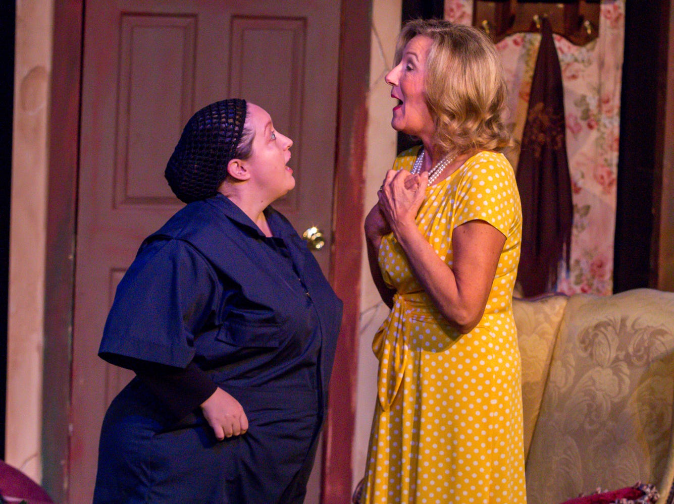 "Courtney Moseley, playing Ginny, left, and Connie Cali, playing Amanda Wingvalley, rehearse their scenes at Pensacola Little Theatre on Monday, October 29, 2018. They are part of ""Desire Desire Desire/For Whom The Southern Belle Tolls,"" two one-act plays written by Christopher Durang."
