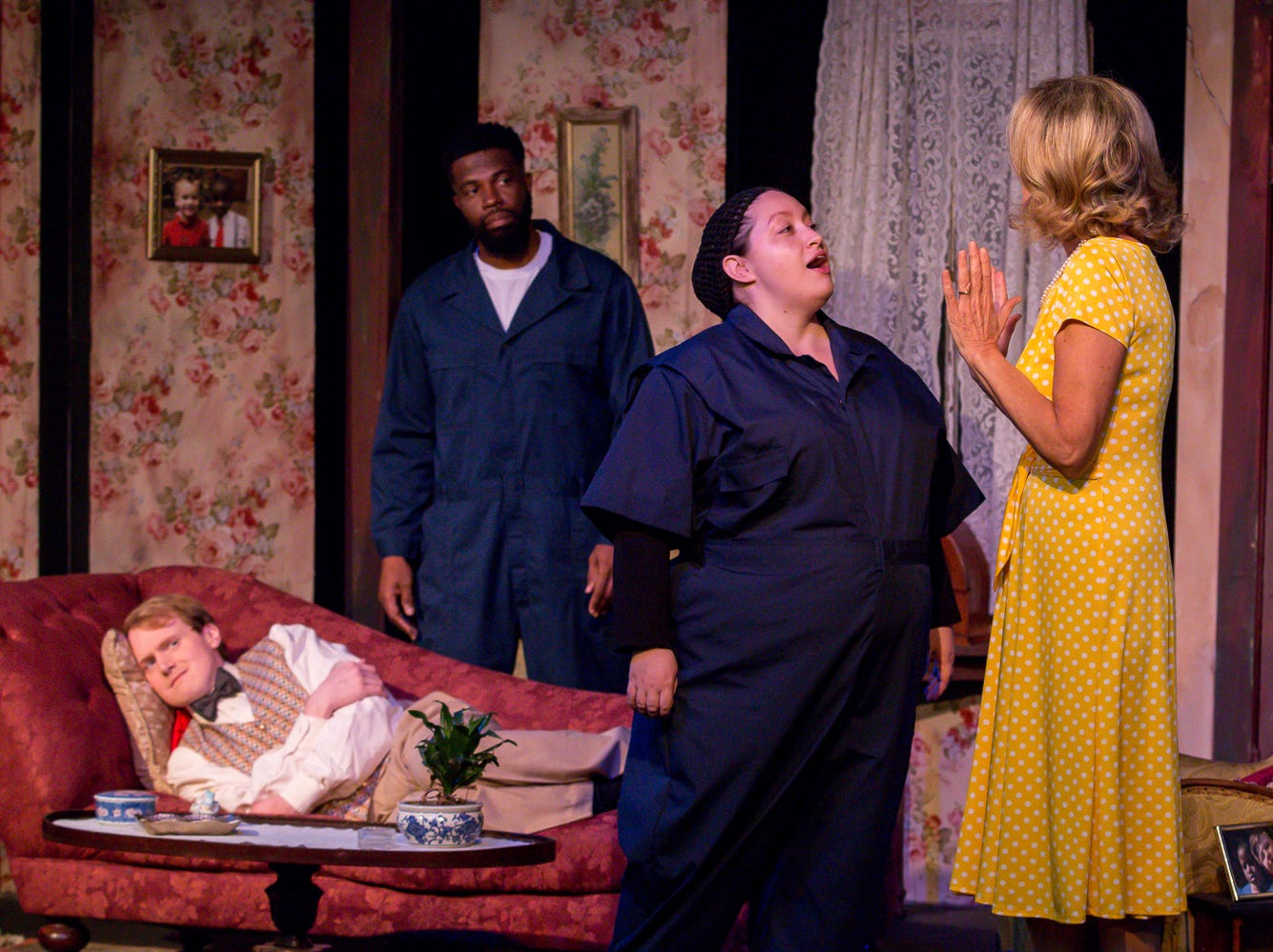 "Nathan Toepfer, playing Lawrence, far left, Gene Alexander, playing Tom, Courtney Moseley, playing Ginny, and Connie Cali, playing Amanda Wingvalley, rehearse their scenes at Pensacola Little Theatre on Monday, October 29, 2018. They are part of ""Desire Desire Desire/For Whom The Southern Belle Tolls,"" two one-act plays written by Christopher Durang."