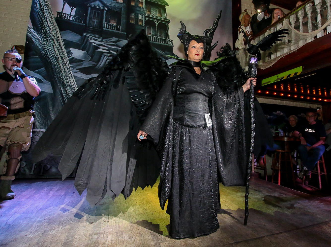 """Maleficent"" won 1st place in the $1,000 grand prize Halloween costume contest, which featured over 100 entrants, at Seville Quarter on Wednesday, October 31, 2018."