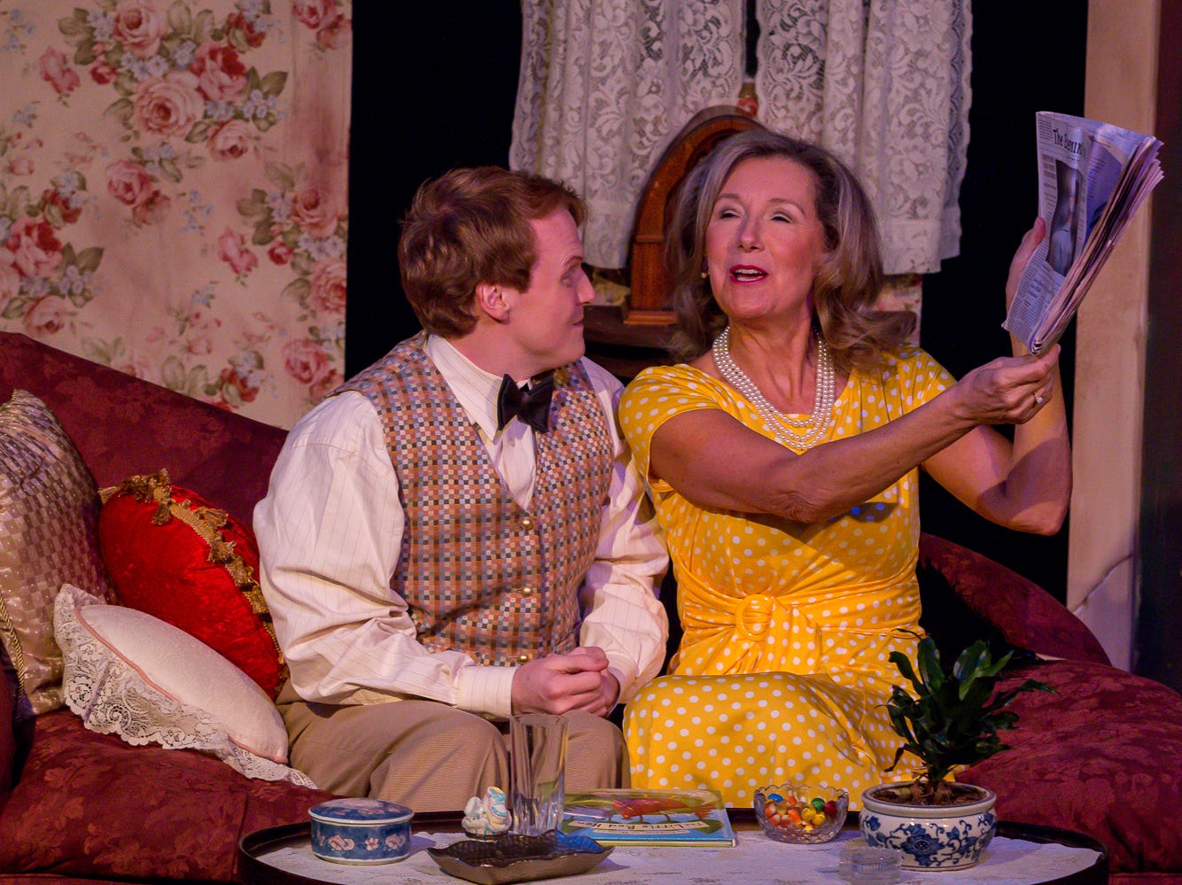 "Nathan Toepfer, playing Lawrence, and Connie Cali, playing Amanda Wingvalley, rehearse their scenes at Pensacola Little Theatre on Monday, October 29, 2018. They are part of ""Desire Desire Desire/For Whom The Southern Belle Tolls,"" two one-act plays written by Christopher Durang."