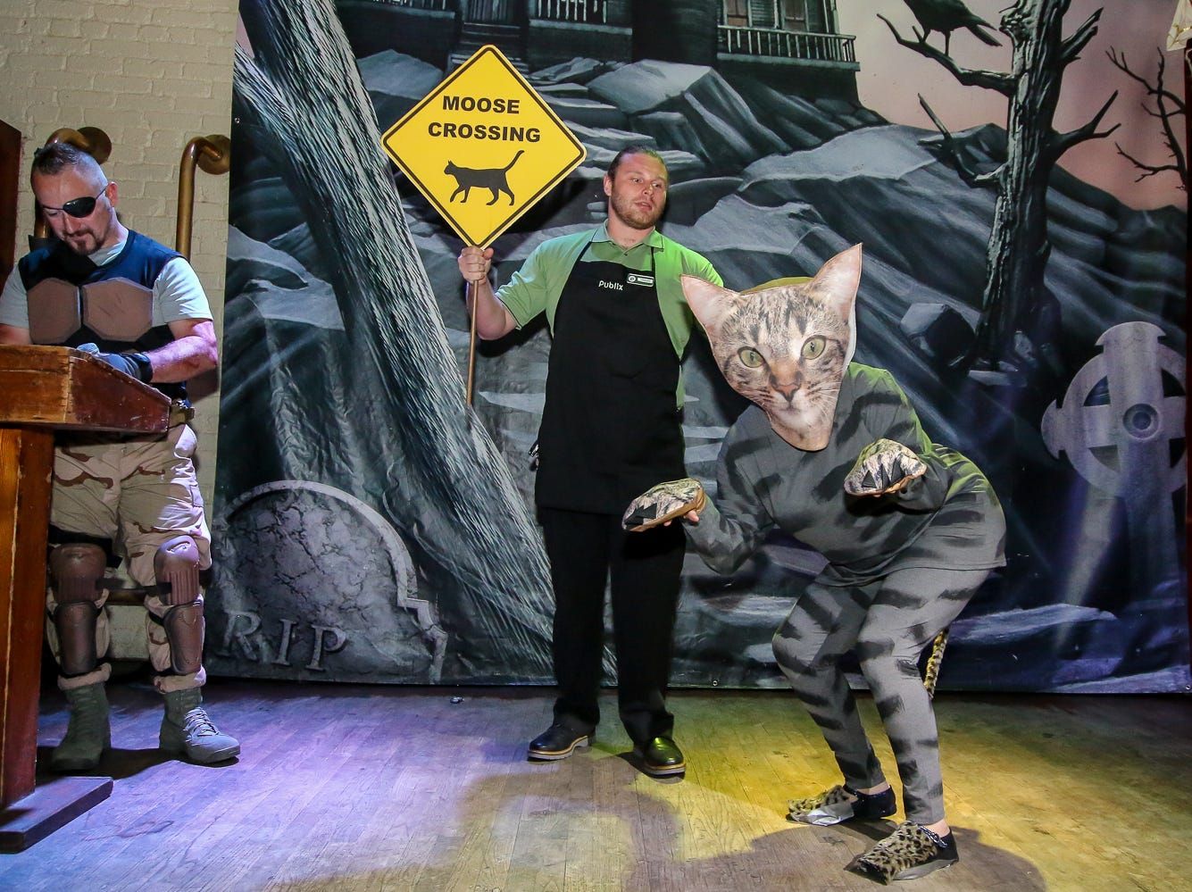 """'Moose' the cat and his Publix employee"" won 6th place in the $1,000 grand prize Halloween costume contest, which featured over 100 entrants, at Seville Quarter on Wednesday, October 31, 2018."