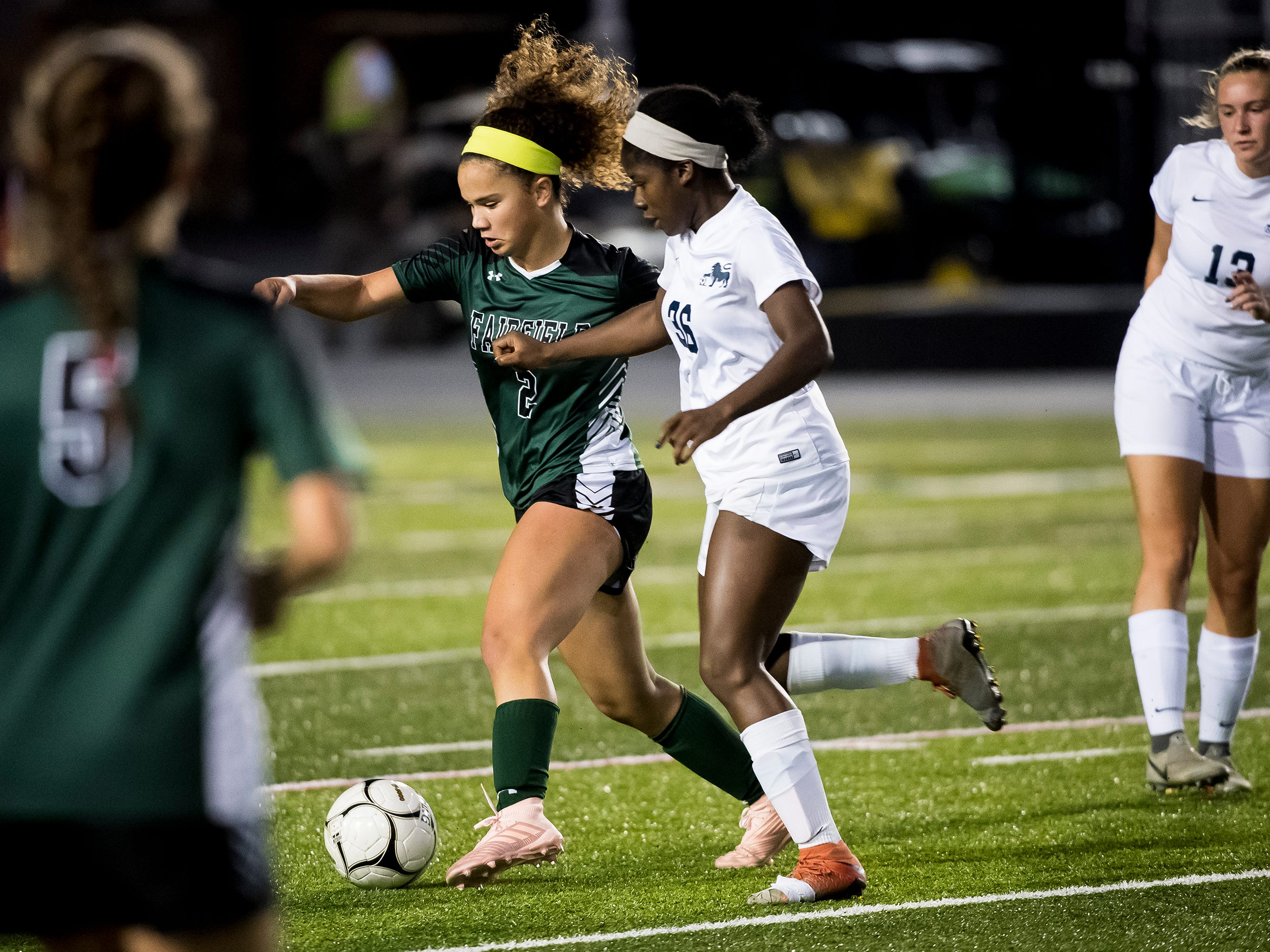 Fairfield's Annabel Anderson (2) controls the ball against Camp Hill's Shelly Williams (36) during the PIAA District III Class A championship game at Hershey Park Stadium on Wednesday, October 31, 2018. The Knights fell in overtime 1-0.