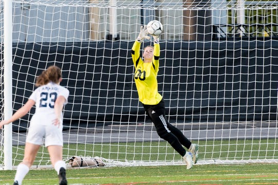 Fairfield's Haley Bolin makes a save during play against Camp Hill in the PIAA District III Class A championship game at Hershey Park Stadium on Wednesday, October 31, 2018. The Knights fell 1-0.
